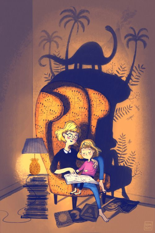 Cozy reading with dinosaurs illustration for Bologna Children's Book Fair by by Marta Dlugolecka
