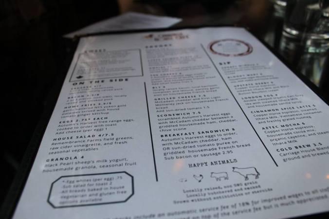 carraige menu